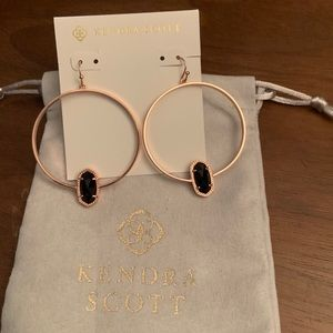 Rose Gold Elora Hoops in Black Opaque Glass